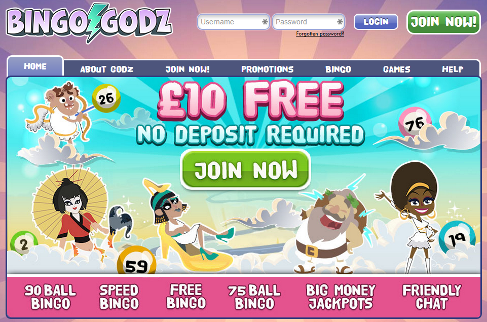 Bingo Godz Homepage Screenshot